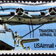 UNITED STATES OF AMERICA - CIRCA 1985: a stamp printed in USA shows plane with inscription Transpacific airmail, circa 1985 — Stock Photo