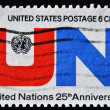 UNITED STATES - CIRCA 1992: A stamp printed by United States of America, shows emblem United Nations, UN, circa 1992 - Stock Photo