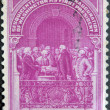 Stock Photo: US- CIRC1939: stamp printed in USshows Inauguration Of Washington As First President, circ1939.