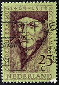 Holland - CIRCA 1990: A stamp printed in the Netherlands shows Erasmus of Rotterdam, circa 1990 — Stock Photo