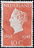 HOLLAND - CIRCA 1948: A stamp printed in Netherlands shows queen Wilhelmina, circa 1948 — Stock Photo
