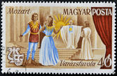 HUNGARY - CIRCA 1967: stamp printed by Hungary, shows Scene from Magic Flute opera by Wolfgang Amadeus Mozart, circa 1967 — Stockfoto