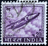 INDIA - CIRCA 1967: A stamp printed in India shows a Folland Gnat fighter jet from the Indian Airforce, circa 1967. — Stock Photo