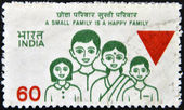 INDIA - CIRCA 1980: A stamp printed in India shows A small family is a happy family, circa 1980 — Stock Photo