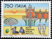 ITALY - CIRCA 1992: A stamp printed in Italy shows former summer resort, circa 1992 — Stock Photo