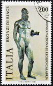 ITALY - CIRCA 1981: a stamp printed in Italy shows an image of Riace Bronze one of the couple of famous full-size Greek statues of nude bearded warriors, circa 1981 — Foto Stock