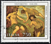 """ITALY - CIRCA 1994: A stamp printed in Italy shows the work """"Bacchus and Ariadne"""" by Tintoretto, Doge's Palace in Venice, circa 1994 — Stockfoto"""