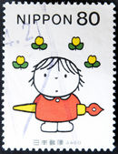 "JAPAN - CIRCA 2001: A stamp printed in Japan, shows a picture of ""Feel like flowers"" by Bruna, circa 2001 — Stock Photo"