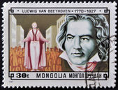 MONGOLIA - CIRCA 1981: A stamp printed in Mongolia shows image of the famous German composer Ludwig van Beethoven, circa 1981 — Zdjęcie stockowe