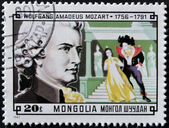 MONGOLIA - CIRCA 1981: A stamp printed in Mongolia shows image of the famous composer Wolfgang Amadeus Mozart, circa 1981 — Stock Photo