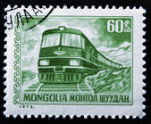 MONGOLIA - CIRCA 1973: A Stamp printed in MONGOLIA shows the Diesel Locomotive, circa 1973 — Stock Photo