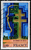 FRANCE - CIRCA 1977: A stamp printed in France dedicated to Charles de Gaulle, circa 1977 — Stock Photo