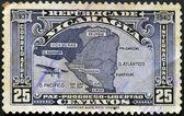NICARAGUA - CIRCA 1940: A stamp printed in Nicaragua shows the map of nicaragua, circa 1940 — Stock Photo