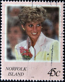 NORFOLK ISLAND - CIRCA 2008: A stamp printed in Norfolk Island shows Diana, Princess of Wales, circa 2008 — Stock Photo