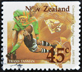 NEW ZEALAND - CIRCA 1995: A stamp printed in New Zealand dedicated to centenary of rugby league, circa 1995 — Stock Photo
