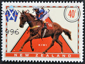 AUSTRALIA - CIRCA 1996: A stamp printed in New Zealand shows riding, circa 1996 — Foto de Stock