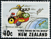 NEW ZEALAND - CIRCA 1997: A stamp printed in New Zealand shows humorous design kiwis taking of the world, circa 1997 — Stock Photo