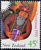 NEW ZEALAND - CIRCA 1991: A stamp printed in New Zealand shows Magi, circa 1991 — Stock Photo