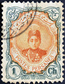 A stamp printed in Iran shows Ahmad Shah Small — Stock Photo