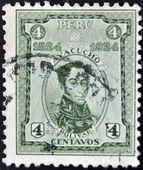 PERU - CIRCA 1924: A stamp printed in Peru shows simon Bolivar, circa 1924 — Stock Photo