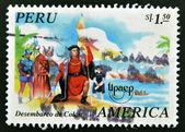 PERU - CIRCA 1995: A stamp printed in Peru shows Landing of Columbus, circa 1995 — Stock Photo