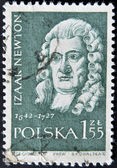 POLAND - CIRCA 1959: A stamp printed in Poland shows Isaac Newton, series, circa 1959 — Stock Photo