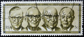 SOUTH AFRICA - CIRCA 1981: A stamp Printed in RSA shows Presidents 1961-1981 (Swart, Fouche, Diederichs and Vorster), circa 1981 — Stock Photo