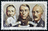 SOUTH AFRICAN - CIRCA 1980: A stamp printed in RSA shows Joubert, Kruger and Pretorius, circa 1980 — Stock Photo