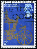 UNITED KINGDOM - CIRCA 1978: A stamp printed in Great Britain shows 25th Anniversary of the Coronation queen Elizabeth II, circa 1978 — Stock Photo