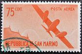 SAN MARINO - CIRCA 1950: A stamp printed in San Marino shows aircraft in flight, circa 1950 — Stock Photo