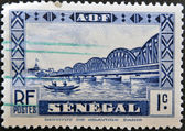 SENEGAL - CIRCA 1931: A stamp printed in Senegal shows Faidherbe Bridge, circa 1931. — Stock Photo