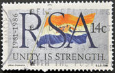 REPUBLIC OF SOUTH AFRICA - CIRCA 1986: A stamp printed in RSA shows the flag, circa 1986 — Stock Photo