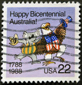 USA - CIRCA 1988: A stamp dedicated to The bicentenary of Australia was celebrated in 1970 on the 200th anniversary of Captain James Cook landing and claiming the land, circa 1988. — Stock Photo