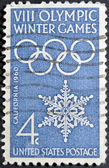 USA - CIRCA 1960: A stamp printed in USA shows image of the dedicated to the 8 Olympic Winter Games, California, circa 1960. — Foto Stock