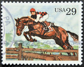 UNITED STATES OF AMERICA - CIRCA 1993: A stamp printed in USA shows Steeplechase, circa 1993 — Stock Photo