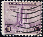 UNITED STATES OF AMERICA - CIRCA 1933: A stamp printed in USA shows Federal building at Chicago, 100th anniversary of the incorporation Chicago as a city, circa 1933 — Stock Photo