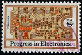 UNITED STATES - CIRCA 1973: stamp printed in USA shows transistors and printed circuit board , circa 1973 — Stock Photo