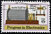 UNITED STATES - CIRCA 1973: stamp printed in USA shows Marconi spark coil and marconi spark gap, circa 1973 — Stockfoto