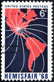 UNITED STATES OF AMERICA - CIRCA 1968 : Stamps printed in USA honoring Hemisfair 68, circa 1968 — Stock Photo