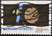 UNITED STATES OF AMERICA - CIRCA 1991: A stamp printed in USA shows mercury mariner 10, circa 1991 — Stock Photo