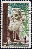 USA - CIRCA 1964: A stamp printed in USA shows the portrait of a John Muir, naturalist and conservationist and Redwood Forest, circa 1964 — Stock Photo