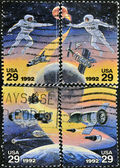 UNITED STATES OF AMERICA - CIRCA 1992: A stamp printed in USA to commemorate the achievements in space of both the USA and Russia — Stock Photo