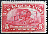 UNITED STATES OF AMERICA - CIRCA 1912: A stamp printed in USA shows mail train, circa 1912 — Stock Photo