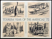UNITED STATES OF AMERICA - CIRCA 1972: American postal dedicated a year in tourism in the Americas, 1972 — 图库照片