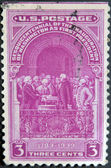 USA - CIRCA 1939: A stamp printed in USA shows Inauguration Of Washington As First President, circa 1939. — Stock Photo