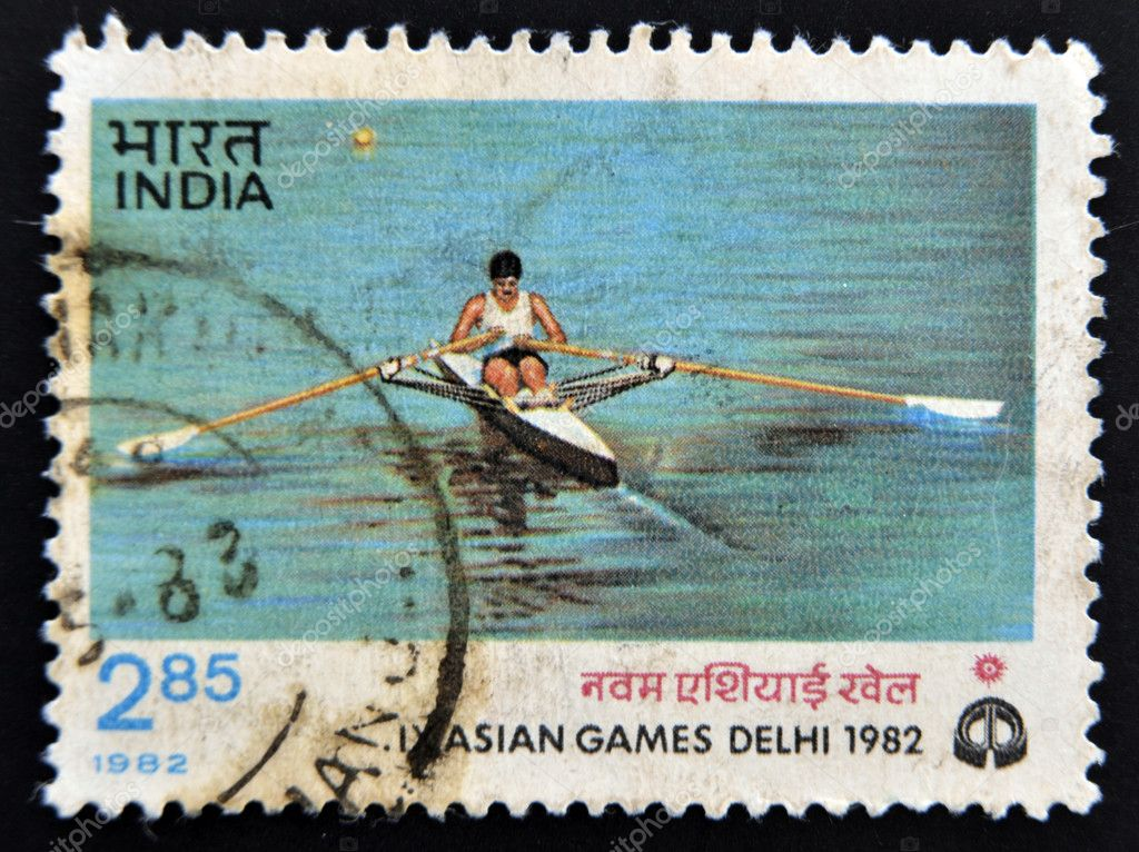 INDIA - CIRCA 1982: A stamp printed in India dedicated to asian games Delhi 1982, circa 1982  Stock Photo #9450161