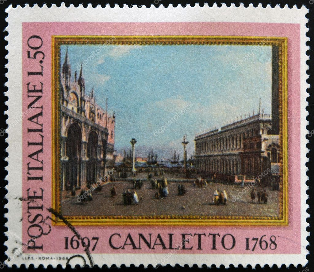 ITALY - CIRCA 1968: a stamp printed in Italy celebrates the bicentenary of the death of  Canaletto, the italian painter famous for his landscapes of Venice, circa 1968 — Stock Photo #9450277
