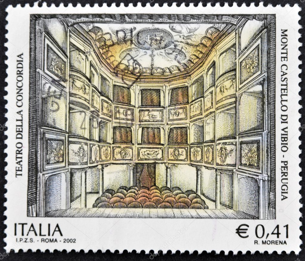 ITALY - CIRCA 2002: A stamp printed in Italy shows theater of concord en Monte Castello di Vibio, Perugia, circa 2002 — Stock Photo #9450409