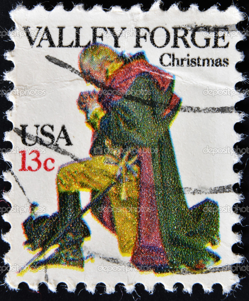 UNITED STATES - CIRCA 1977: A stamp printed in USA shows Washington at Valley Forge, circa 1977 — Stock Photo #9452266