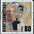 "Stock Photo: GERMANY - CIRC1987: stamp printed in Germany, shows painting ""No name (early-portrait)"", collage by Kurt Schwitters, circ1987"